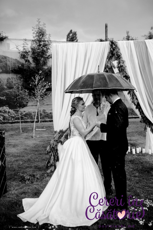 The wedding with rain of joy